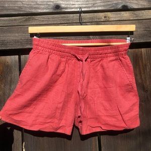 Red/ coral Linen Beach Shorts